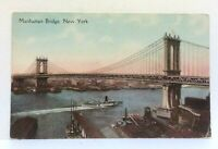 New York City NY Manhattan Bridge Vintage Postcard