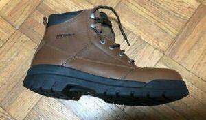 "Hytest 6"" Leather Work Boots Steel Toe Waterproof Brown Mens size:9"