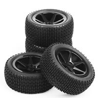 12mm Hex 4Pcs Rubber RC Buggy Front Rear Tire Wheel Rims For 1:10 Off-Road Car