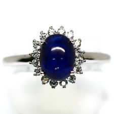 NATURAL BLUE SAPPHIRE & WHITE CZ RING 925 STERLING SILVER SIZE6.5