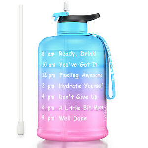 GYM Training 1 Gallon Water Bottle Straw & Motivational Time Marker BPA Free