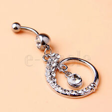 Hanging Belly Ring Navel Bar 58mm Hm Clear Gems Paved Hoop with Centred Round