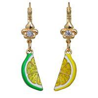 Ritzy Couture Citrus Fruit Lemon & Lime Juicy Leverback Drop Earrings (Goldtone)