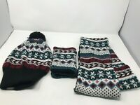 Mukluks Multicolor Reversible Winter Set Scarf Beanie Hat Wristwarmers