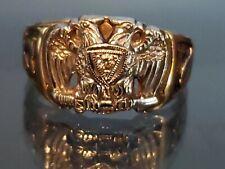 Vintage 10K Yellow Gold Platinum Top 32nd Degree Masonic Double Eagle Ring sz 13