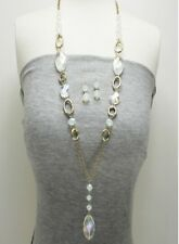 Gold and AB Dangling Beads Necklace Set