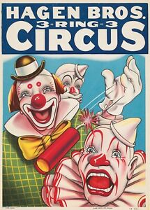 HAGEN BROS. 3 Ring Circus CLOWNS Early 1950 Vintage Poster Reprint