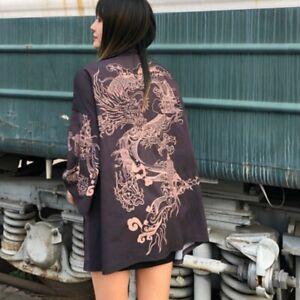Women Japanese Kimono Coat Yukata Outwear Tops Vintage Chinese Dragon Cardigan