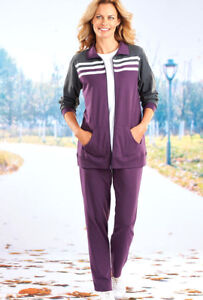 2PC CASUAL SPORTY KNIT SET ~~ SM PETITE UP TO 3X ~~ EGGPLANT & CHARCOAL JACKET