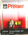 Preiser HO #29094 Homeless Man on a Bench with Bags (Painted) 1:87th Scale