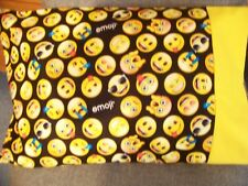 TRAVEL SIZE PILLOW CASE EMOJI TINY CHARACTERS FACEBOOK 2 SIDED/YELLOW CUFF 8219