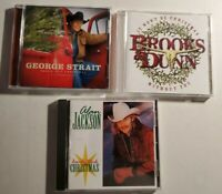 Lot of 3 Country Music Christmas CDs George Strait Brooks Dunn Alan Jackson