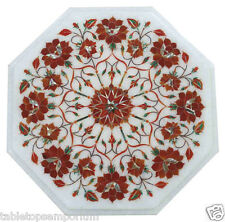 1'x1' Marble Coffee Table Top Hakik Inlay Work Semi Precious Art Decor Furniture