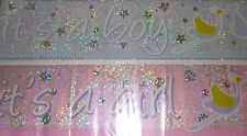 9ft Sparkly Its A Boy / Its A Girl New Baby Shower Foil Banner Party Decoration