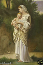 """High Quality Hand Painted Oil On Stretched Canvas 24"""" X 36""""-Mary with Baby"""