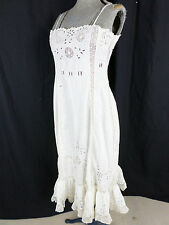 Antique Victorian White Eyelet Crochet Lace Cotton Dress Slip- Bust 29,AS-IS!