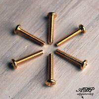 6 Vis Micro Strat  1.85x18mm Dorées Pickup Screws Gold