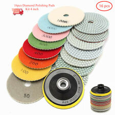 16pcs Diamond Polishing Pads 4in Wetdry For Granite Concrete Marble Grinding