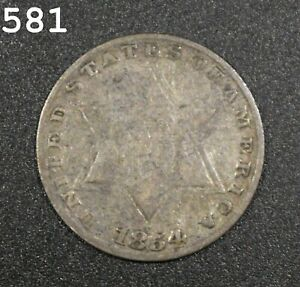 """1854 Three-Cent Piece (Trime) """"Fine"""" *Free S/H After 1st Item*"""