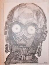 A4 Art Graphite Pencil Sketch Drawing C3-PO See Threepio Face Star Wars Poster