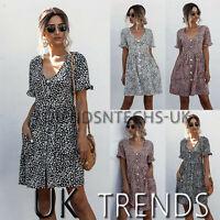 UK Womens Leopard Print Smock Sun Dress Tops Ladies Holiday Beach Casual