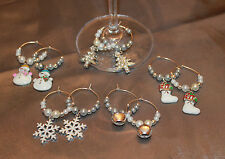 Set of 10 Handmade Christmas Design Wine Glass Charms Markers Table Decorations