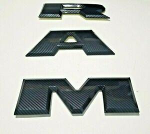 Dodge Ram 1500 DT carbon Fiber Black tailgate letter R A M  Emblem 2015-2021