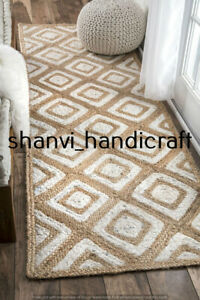 Home Decor Jute Rug Floor Handmade Jute Runner Rug Boho Solid Area Rug 2x4 Feet