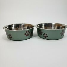"Pet Food & Water Bowls 5"" Diameter W/Rubberized Grip To Prevent Slippage"