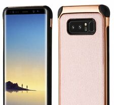 Samsung Galaxy Note 8 - PU Leather Hybrid Chrome Armor Hard Phone Case Rose Gold
