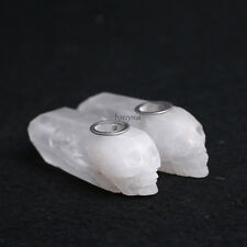2PCS Natural Cure Clear Quartz Crystal Smoking Pipes Carved Skull Tobacco Wands
