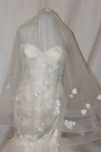 NWT Justin Alexander 8915 Size 12 Mermaid Pink Champagne/ivory lace with veil