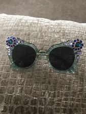 Cat Eye Crystal Embellished Blue Designer Inspired Unbranded Sunglasses Miu