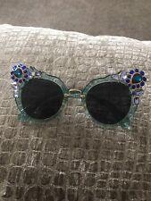 CAT Eye Crystal Impreziosito Blu Designer Inspired senza marchio occhiali da sole Miu