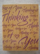 Thinking of You Hero Arts greetings Large rubber stamp S1317 hearts