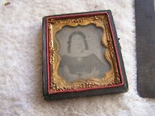 Antique Tin Type Photo Girl  in Case