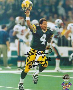 PACKERS Brett Favre signed SB XXXI STAT 8x10 photo COA HOLO AUTO Super Bowl KID
