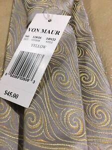 Von Maur Platinum Enro Mens Silk Necktie Pasiley Design Silver/Yellow NWT $45