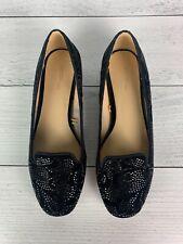 Zara Basic Women's US 7 EUR 38 Black Velvet Sparkle Slip On Cute Flats Shoes