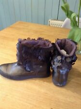 NEW DIESEL BOOTS GUNMETAL  METALLIC LEATHER AND SEQUIN ANKLE BOOTS UK 5 EU 38