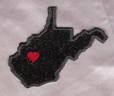 Embroidered Black Glitter Sparkle West Virginia WV Love State Patch Iron On Sew