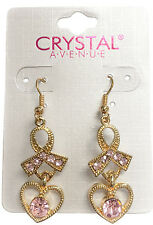 Pink Ribbon Breast Cancer Awareness Crystal Avenue Heart Gold Earring Set
