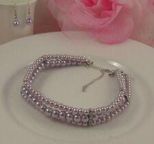 Collar de Diamantes de Imitación Perlas de Imitación Pendientes Conjunto de Joyas de Novia Mujer Regalo Caliente s/&fo