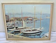 Vintage Framed print sailing yachts & boats in harbour sea coast scene