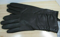 womens GII brown leather driving gloves NWT size L lined rouching covers wrist