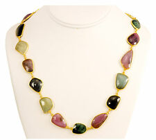Natural Sapphire Emerald Faceted Necklace Pink 14k gold plate chain Bezel 24 ""