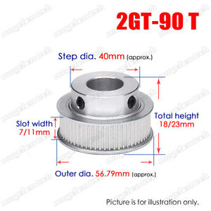 2GT-90T Timing Belt Pulley Synchronous Wheel 6-25mm Bore For 6/10mm Width Belt