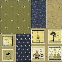 100% Cotton Fabric - Bee Beehive Bumblebee Flowers Honey Quote - Fat Quarters