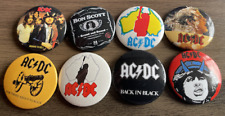 More details for acdc set of 8 button badges - classic rock band highway to hell 25mm pins ac/dc