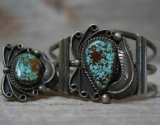 Vintage Native American Navajo Sterling Silver Cuff Bracelet Ring Set